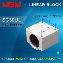 2 pçs/lote MSM Linear Blocos de Mancal Unidades Deslizantes de Alumínio Habitação SC30UU 30 milímetros Eixo De Movimento Linear de Slides CNC Peças SMA30UU