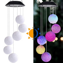 Solar Frohe Chrismas Powered Wind Chime Licht LED Garten Hängen Spinner Partikel Ball Lampe Farbwechsel Hause Decor(China)