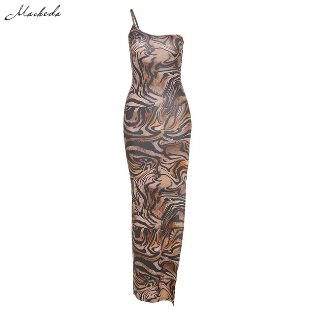 Macheda Women Fashion One-Shoulder Sling Bodycon Dress Summer Sleeveless Print Street Casual Long Dress For Party Club 2020 New 6