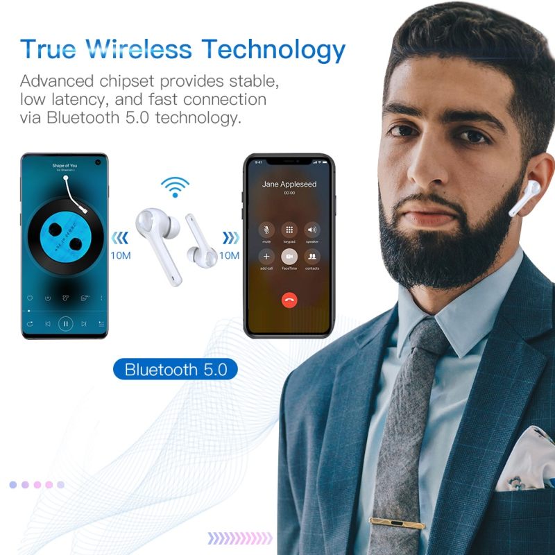True Wireless Earbuds With Nosie Reduce Bluetooth 5.0 Earphones With Charging Case Easy-Pairing Stereo CallsBuilt-in MicrophoneY