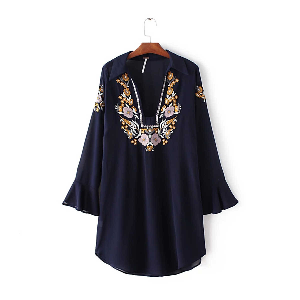 Jastie V-צוואר התלקחות שרוול ארוך חולצה חולצה פרחוני רקמה למעלה שיפון נשים חולצות חולצות מקרית Boho חוף חולצות Blusas