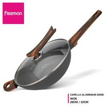 FISSMAN CAPELLA Series กระทะ PAN with Glass Lid Non Stick Black Mable Coating Induction Cooker(China)