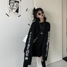 Harajuku Ins Retro Gothic Letter Printed Long Sleeve O-neck Black Top T