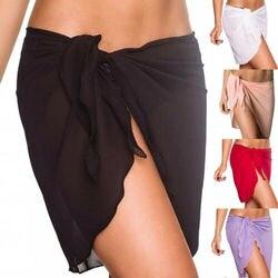Mulher praia bikini cover up cor sólida chiffon envoltório saia sarong cachecol beachwear maiô beachwear maiôs