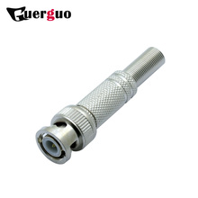 100pcs BNC Male Plug Soldering Wire Connector with Spring for CCTV Terminator RF Coax Connector Converter