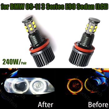 120W 6000K white H8 LED Angel Eyes Led Marker Lights for BMW 2009-2011 3 Series E90 Sedan (LCI) image