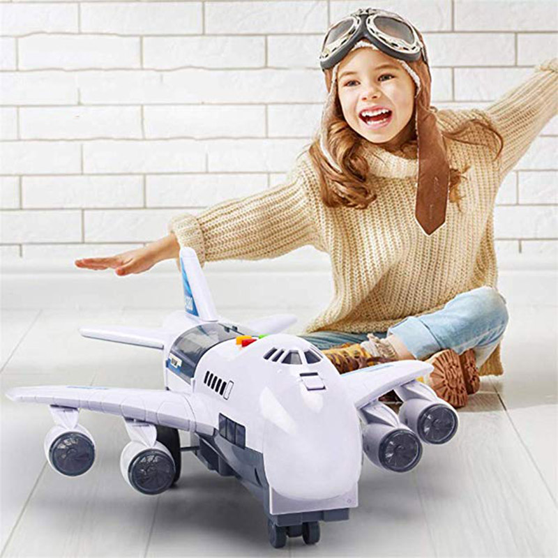 Music Story Simulation Track Inertia Light ABS Children's Toy Aircraft Simulation Passenger Plane Toy Blue White Gifts For Boys