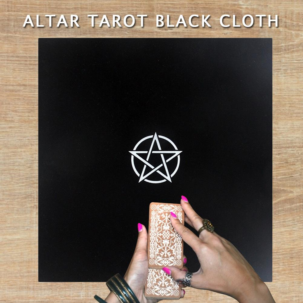 Altar Tarot Black Cloth Five-pointed Star Flocking Soft Tablecloth For Psychological Magicians Game Card Accessory