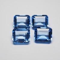 12*14 mm 5 Piece octagon Hydrothermal Quartz Aquamarine crystal Loose gemstone for jewellery making 1