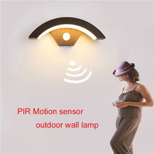 Wall-Lamp Motion-Sensor Garden Frontdoor Porch Moden Aluminum Black PIR Body