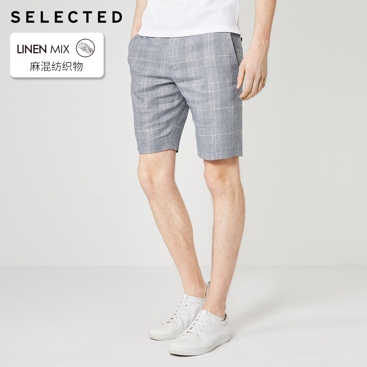 SELECTED Men's Slim Straight Fit Plaid Shorts S|4192SN503