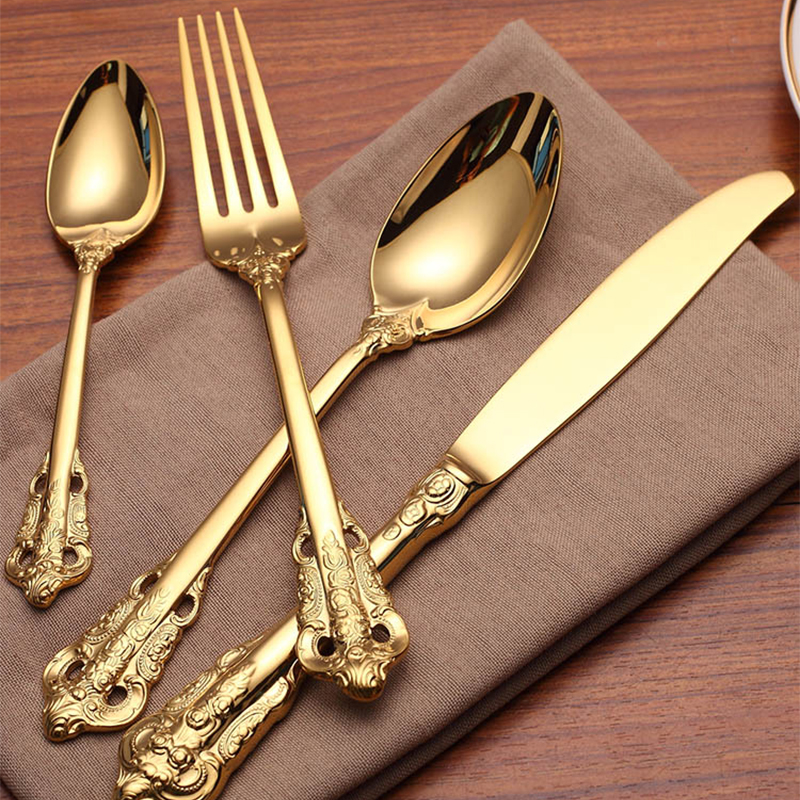 24Pcs/set Tableware gold Titanium carved luxury 304 Stainless Steel Dinnerware Silverware Flatware Set forks knives spoons