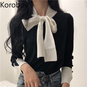 Korobov Korean Lacing Bow Sweet Women Pullovers Hit Color Basic Long Sleeve Female Sweaters Elegant Patchwork Sueter Mujer 79063