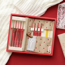 1 conjunto japão tulipa etimo vermelho marca crochê gancho de alumínio resina tricô agulhas original autêntico importado de japão 1.8-5mm