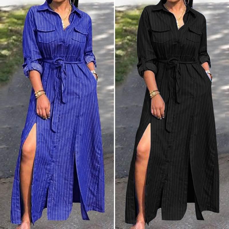 ZANZEA Plus Size Women Long Tunic Shirt Dress Ladies Stripe Printed Bohemian Vestidos Sexy Split Hem Belted Pockets Maxi Dress 7