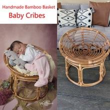 2021 Baby Cribes Photography Props Handmade Bamboo Basket Vintage Chair Newborn Photo Shoot Posing Sofa Fotografia Acessorio