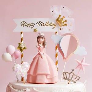 Image 3 - Royal Crown Pink Castle Princess Babys Girl Happy Birthday Cake Topper Kid Party Supplies Cake Deorating Pink Love Gifts