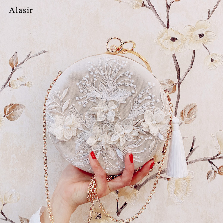 Alasir Handmade Round Bags Chinese Style Bag Embroidery Lady Cheongsam Dress Bag Female  Lace Appliques Small Cross Body  Bags