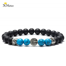 цена на Beaded Bracelets for Men Women 8mm Black Matte Onyx Bracelet Tree of Life Turquoises Bracelet Natural Stone Yoga Beads Bangle