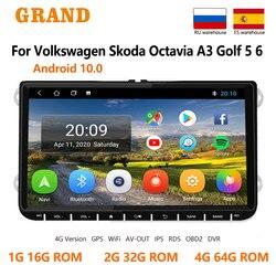 Автомагнитола для VW/Volkswagen/Golf/Jetta/Octavia/Leon, мультимедийный видеоплеер на Android, без dvd, с Gps-Навигатором, RDS, DSP, типоразмер 2DIN