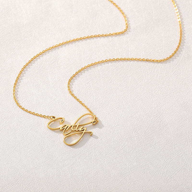 Romantic woman nameplate pendant Personality gold name necklace Stainless steel men's necklace Gift to the best friend ?????????