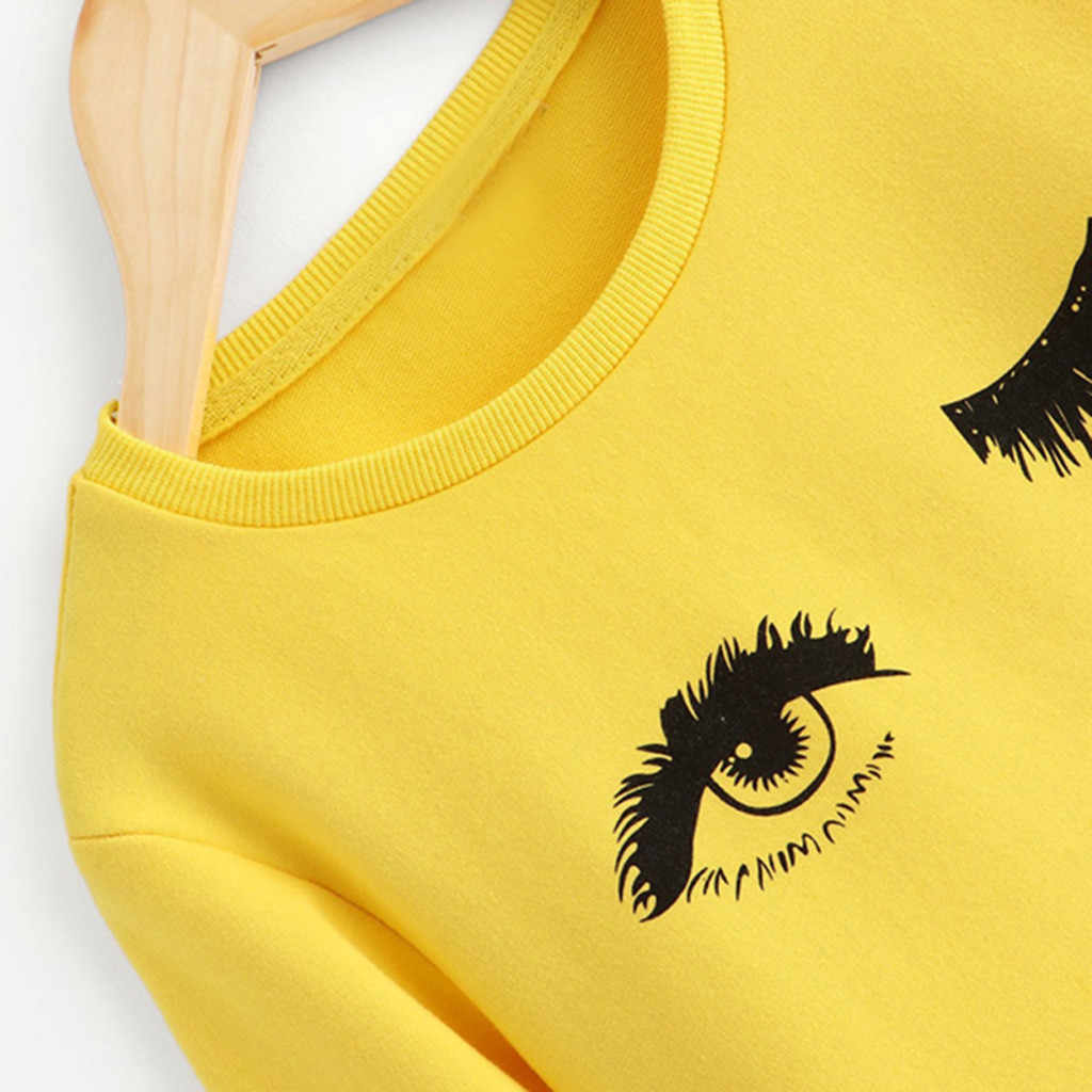 Yellow Blink T Shirt For Girls Tops Girls Kids T Shirt Children White Long Sleeve O-neck Sweatshirt Tees Children Clothes Winter