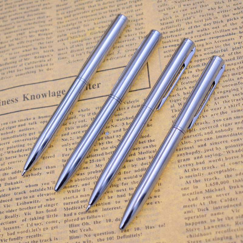 1PC Metal Stick Ballpoint Pen Mini Pocket Rotating Type 0.7mm Blue Black Ink Refill Small Ball Point Pen Twist Writing Tip Out
