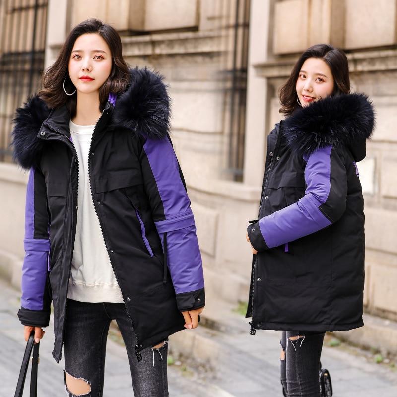 Korean Women Parka Mujer 2019 Winter Parkas Women  Fur Collar Parka Outwear Jacket Coat Femme 5XL Pluse Size Coats For Women