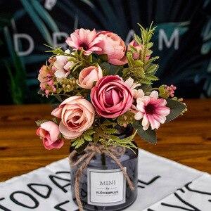 Букет из розового шелка 30 см, искусственные цветы пиона для невесты, свадьбы, дома, Декоративные искусственные цветы