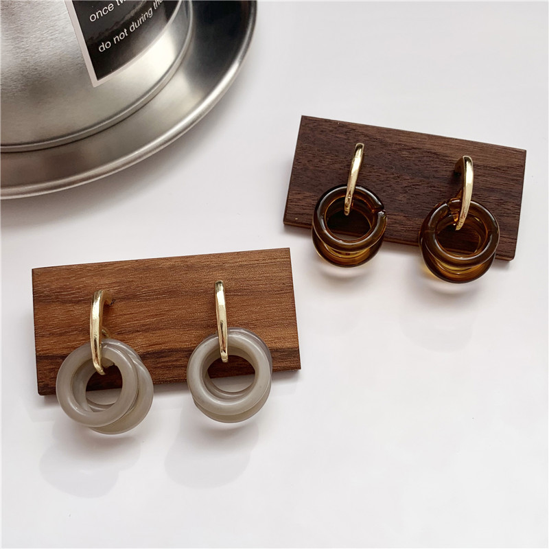 Geometric Multi-circle Resin Acrylic Earrings Korean Women Personality Brown Gray Dangle Earrings Accessories