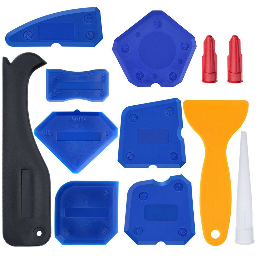 12pcs/set Durable Shovel Glue Silicone Profile Line Multifunctional Scraper Caulk Remover Home Practical Finishing Sealant Tool