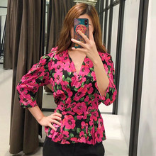2019 Women Chic Floral Print Boho Za Red Blouse Summer Female V-Neck Fashion Slim Waist Loose Linen Shirts For Beach Tops Femme(China)