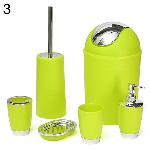 6 pièces salle de bain accessoire Bin savon plat distributeur gobelet porte-brosse à dents ensemble