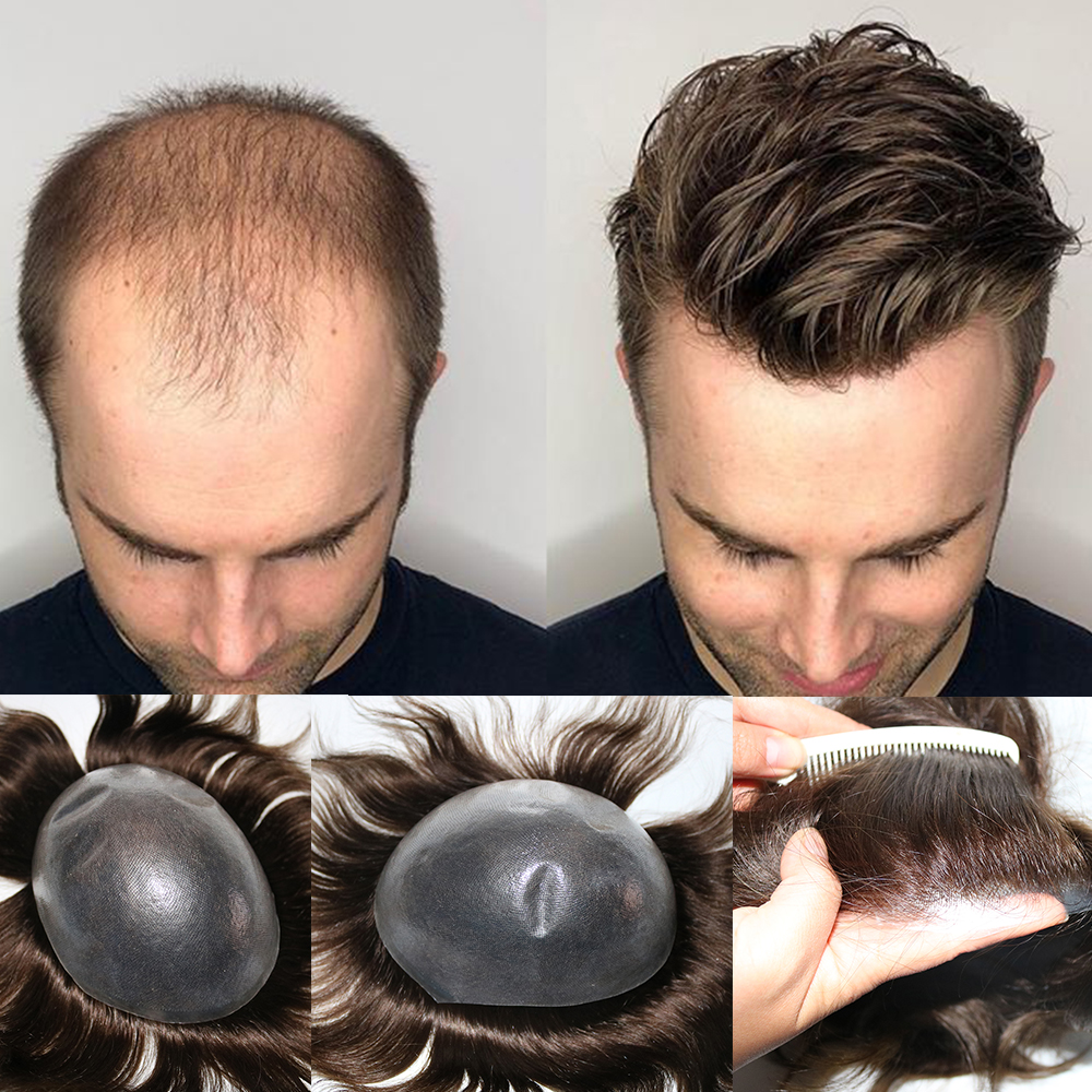 0.06 -0.08mm Thin Skin Men's Toupee Real Human Hair Pieces Natural Hairline Virgin Hair Replacement System For Men Natural