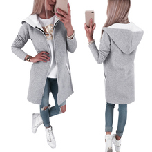 Womens Gray Jackets and Coats Fall Clothe Women Cardigans Zipper Hoodie Coat Lady Long Sleeve Loose Hoodies Winter D25