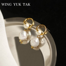 wing yuk tak New Earrings Fall 2019 Fashion Korean Freshwater Pearl Women Shining Gold Color Vintage Jewelry