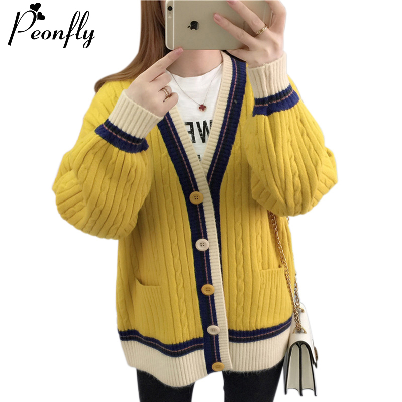 PEONFLY Single Breasted Knitted Jacket Women With Pocket 2019 Fall Winter Korean Cute Long Sleeve Sweater Cardigan Women Female