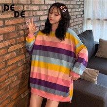 2019 Rainbow Striped Sweatshirt Long Sleeve Harajuku Hoodie Women Loose Pullover Top