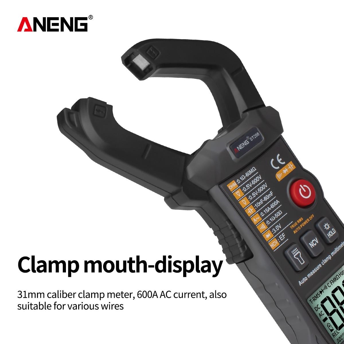 Image 2 - ANENG ST208 Digital Clamp Meter Multimeter Car 6000 counts AC/DC Current Measure Transistor Tester Voltimetro AmperimetroMultimeters   -