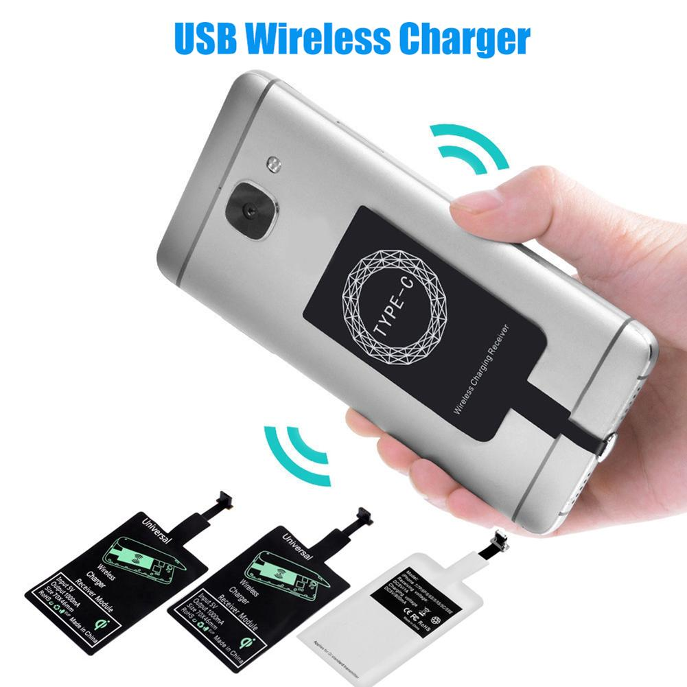 Portable Sticky USB Type-C Qi Wireless Charging Receiver for iPhone Android 2020