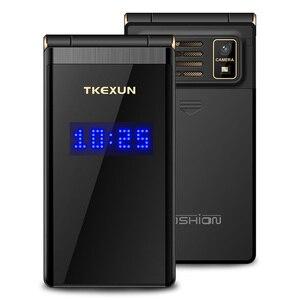 """Image 3 - Pantalla Dual Tkexun 2,8 """"pantalla táctil teléfono Flip Larga modo de reposo SOS llamada de velocidad tecla grande BT 2,0 lista negra antorcha dos Sim funda gratis"""