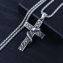 HNSP Punk Snake Cross Pendant Chain Necklace For Men Male Goth Jewelry Gift