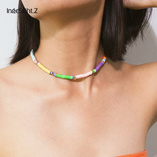 IngeSight.Z Bohemian Rainbow Soft Pottery Choker Necklace Collar Statement Colorful Short Clavicle Chain Necklace Women Jewelry retro women s exaggeration mixing crystal ball necklace pearl turquoises short clavicle chain statement choker necklace jewelry