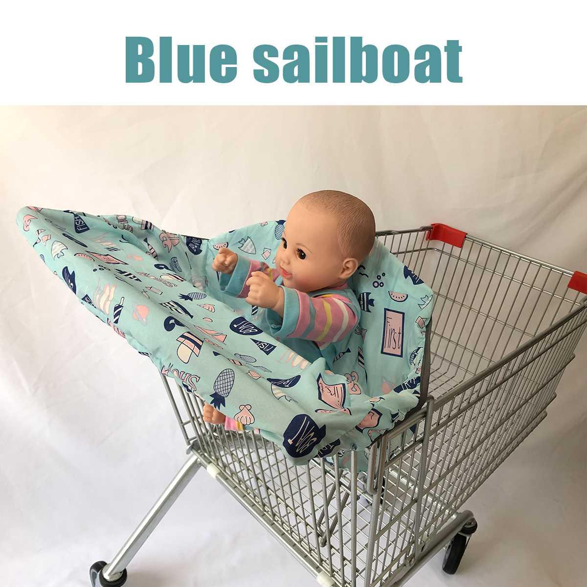 Детская продуктовая тележка для малышей, детская тележка для покупок, Защитная крышка для тележки, защита сиденья, безопасные сиденья для детей - Цвет: Blue sailboat