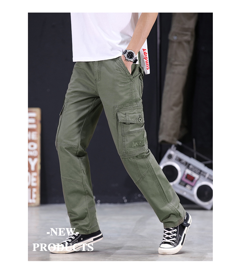 KSTUN Mens Military Cargo Pants Men Overalls Army Green Gray Cotton Men Loose Multi-Pockets Straight fit Men's Casual Trousers Homme 14