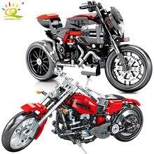 HUIQIBAO Off motocykl szosoway Race klocki techniczne mistrz prędkości motocykl samochód cegły kreatywność zabawki dla dzieci