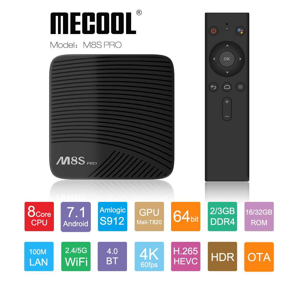 Mecool M8S PRO 2GB DDR4 16GB RAM TV Box Amlogic S912 Octa Core Media PlayerH.265 partage vidéo 4K IPTV Android TV BOX