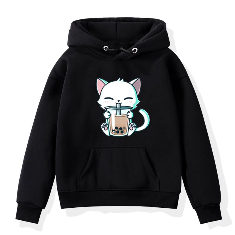 Cat Kawaii Animal Toddler Girl Hoodie Winter Boys Clothes Kids Baby Sweatshirts Fashion Casual Harajuku Children Warm Moletom
