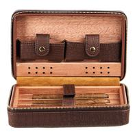 Mini Portable Humidor Cigar Box Vintage Wooden Cigarette Container Storage Case Travel Leather Humidor Box Removable Cedar Tray
