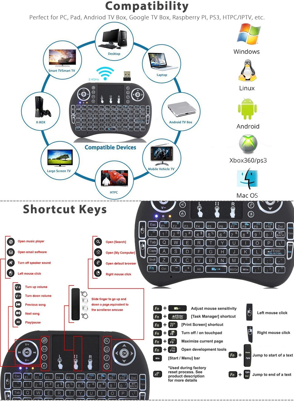 2.4G <font><b>I8</b></font> Mini <font><b>Keyboard</b></font> <font><b>Wireless</b></font> <font><b>Keyboard</b></font> Backlit Air Mouse English Russian Spanish French Remote Control for Android TV BOX image